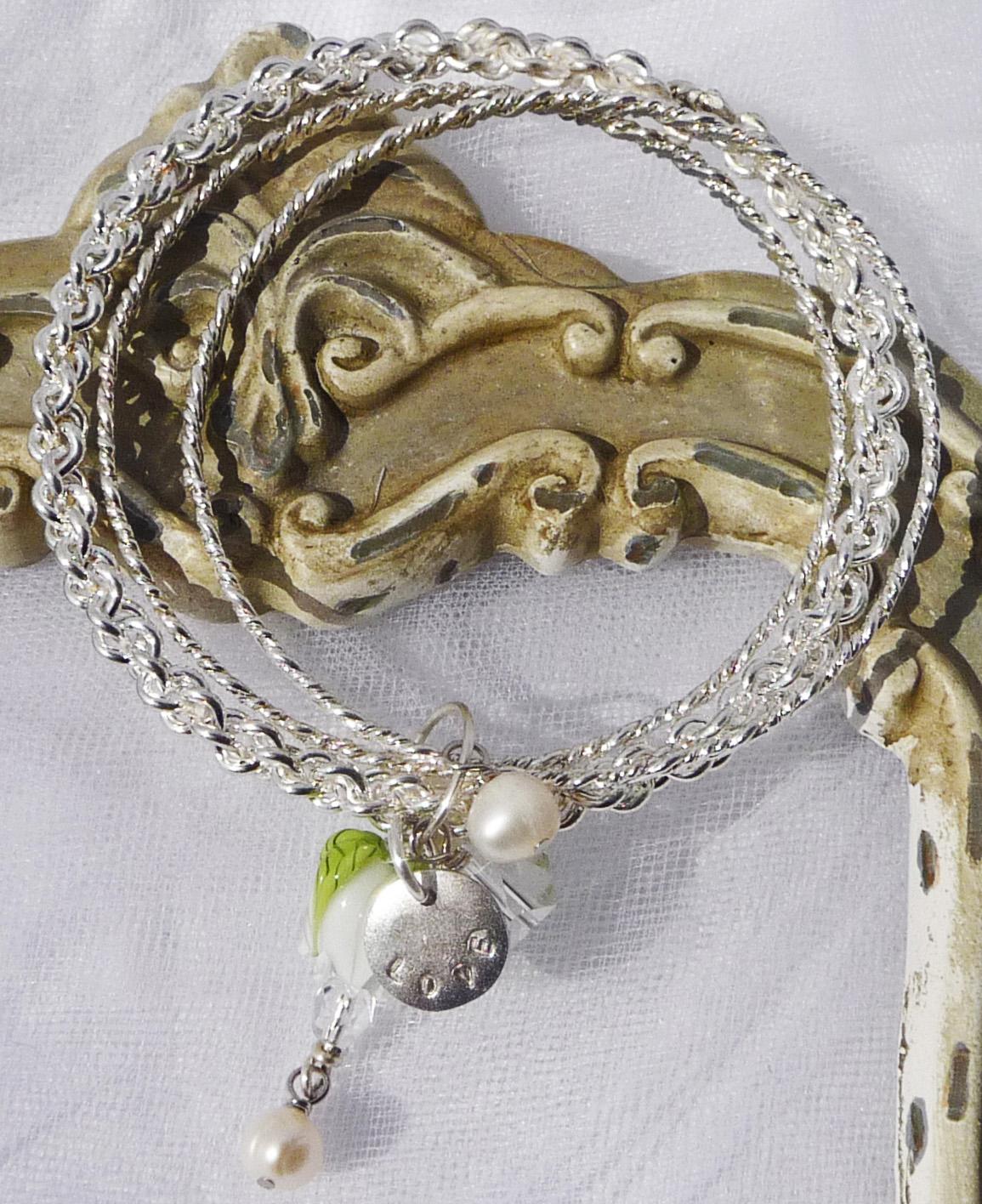 Love in White a Charmer Bangle by Sabrina Koebel of SabrinaDesign.com
